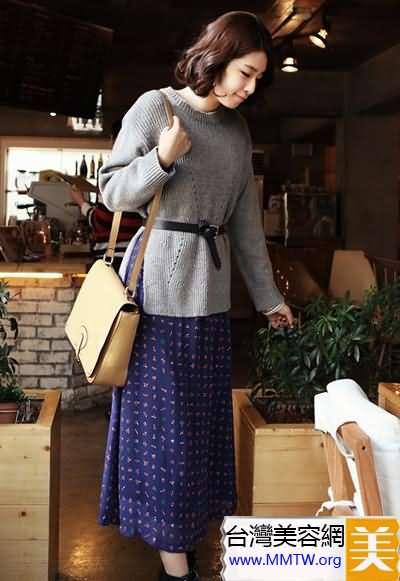針織衫+長裙顯高搭配
