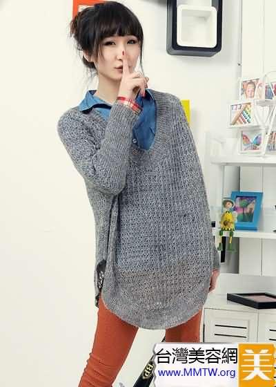 春季人氣搭配毛衣+襯衫