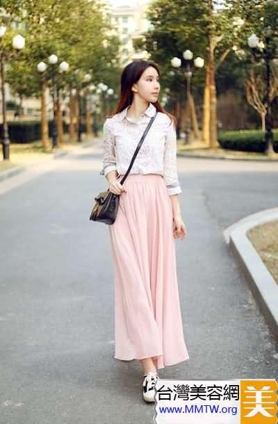 T恤襯衣+長裙顯瘦