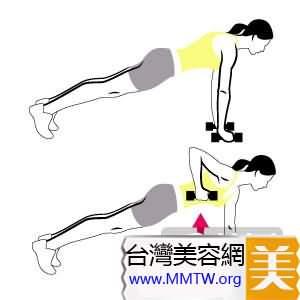 動作二:俯臥撐式舉啞鈴(男女通用)